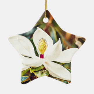 Magnolia in Bloom Ceramic Star Ornament