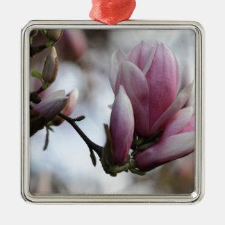 magnolia in bloom Silver-Colored square ornament