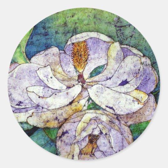 Magnolia in blue.jpg classic round sticker