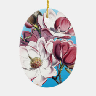 Magnolia On Blue Ceramic Oval Ornament