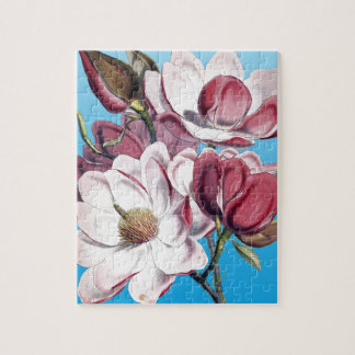 Magnolia On Blue Jigsaw Puzzle