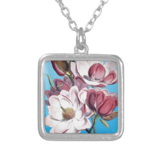 Magnolia On Blue Silver Plated Necklace