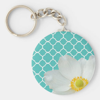 Magnolia & Quatrefoil Pattern Keychain