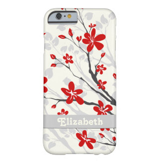 Magnolia red flowers floral custom barely there iPhone 6 case