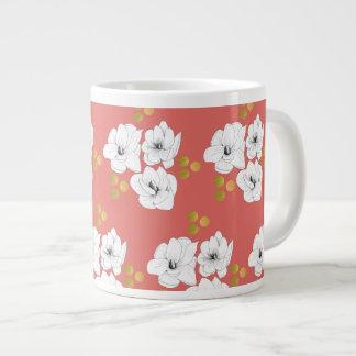Magnolia Romance Coral Large Coffee Mug