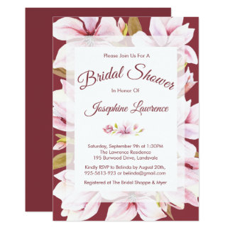 Magnolia Romance Floral Bridal Shower Invitations
