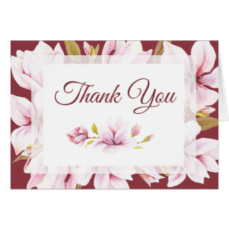 Magnolia Romance Watercolor Floral Thank You Card