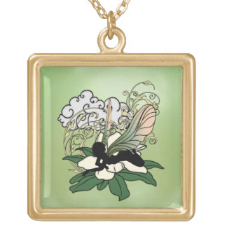 Magnolia Shadow Fairy Gold Plated Necklace