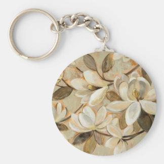 Magnolia Simplicity Cream Basic Round Button Keychain