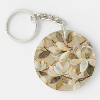 Magnolia Simplicity Cream Double-Sided Round Acrylic Keychain