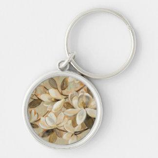 Magnolia Simplicity Cream Silver-Colored Round Keychain