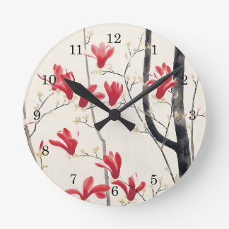 Magnolia Tree by Kobayashi Kokei, Japanese Art Round Clock