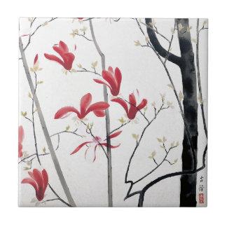 Magnolia Tree Painting Tile