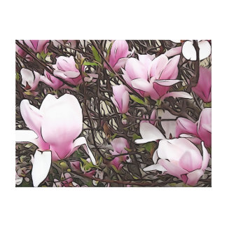 Magnolia Tree with Flowers Wrapped Canvas