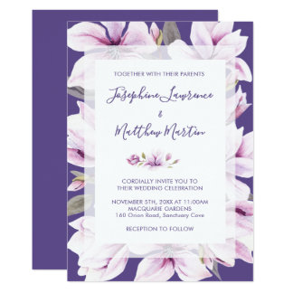 Magnolia Violet Floral Wedding Invitations