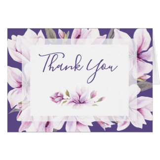 Magnolia Violet Watercolor Floral Thank You Card