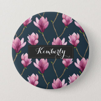 Magnolia Watercolor Floral Pattern 3 Inch Round Button