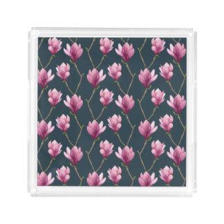 Magnolia Watercolor Floral Pattern Acrylic Tray