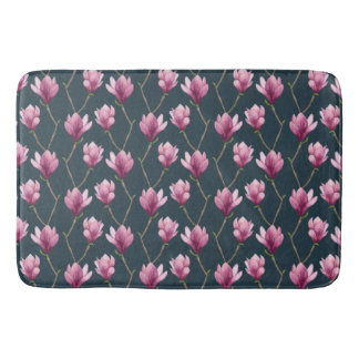Magnolia Watercolor Floral Pattern Bath Mat