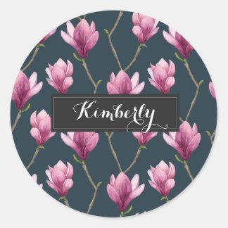 Magnolia Watercolor Floral Pattern Classic Round Sticker