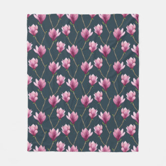 Magnolia Watercolor Floral Pattern Fleece Blanket