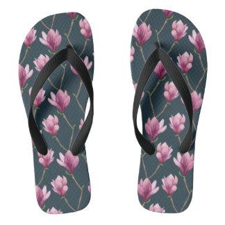 Magnolia Watercolor Floral Pattern Flip Flops
