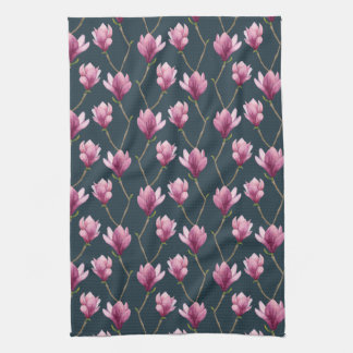 Magnolia Watercolor Floral Pattern Kitchen Towel