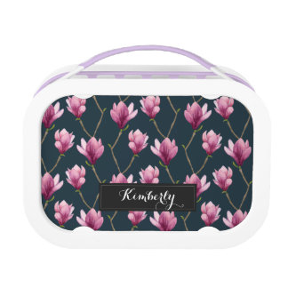 Magnolia Watercolor Floral Pattern Lunch Box
