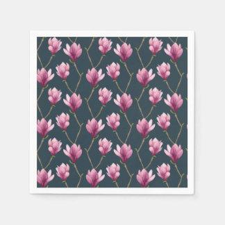 Magnolia Watercolor Floral Pattern Paper Napkin