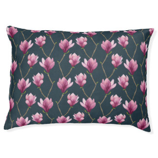 Magnolia Watercolor Floral Pattern Pet Bed