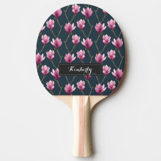Magnolia Watercolor Floral Pattern Ping Pong Paddle