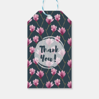 Magnolia Watercolor Floral Pattern Thank You Gift Tags