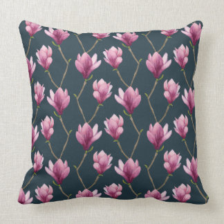 Magnolia Watercolor Floral Pattern Throw Pillow