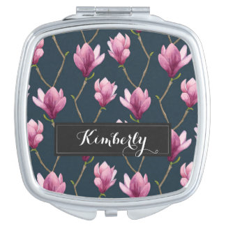 Magnolia Watercolor Floral Pattern Travel Mirror