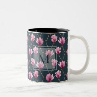 Magnolia Watercolor Floral Pattern Two-Tone Coffee Mug
