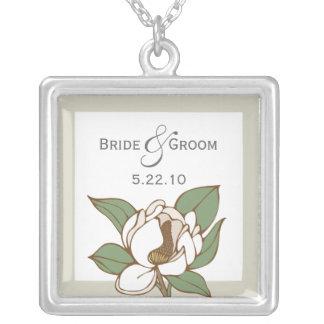 Magnolia Wedding Date Necklace