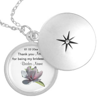 Magnolia Wedding Souvenirs Keepsakes Giveaways Locket Necklace