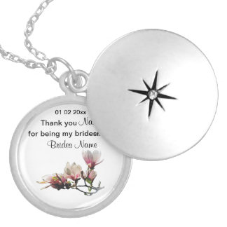Magnolia Wedding Souvenirs Keepsakes Giveaways Silver Plated Necklace