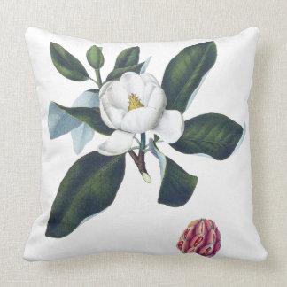 Magnolia White Large Flower Cusion Throw Pillow