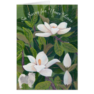 Magnolia with Keeshond Sympathy Card