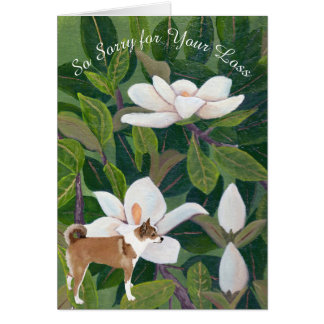 Magnolia with Norwegian Lund, Sympathy or Pet Loss Card
