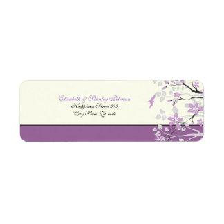 Magnolia with purple flowers wedding label return address label
