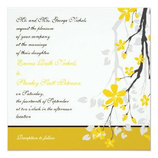 Magnolia with yellow flowers wedding invitation