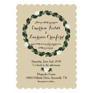 Magnolia Wreath Wedding Invitation