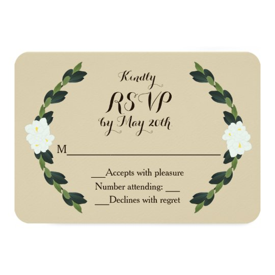 Magnolia Wreath Wedding Response Card