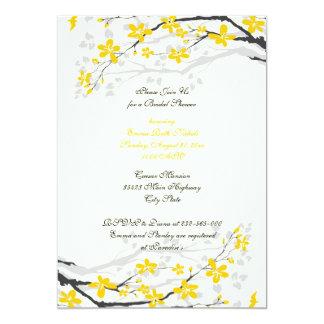 Magnolia yellow flowers bridal shower invitation