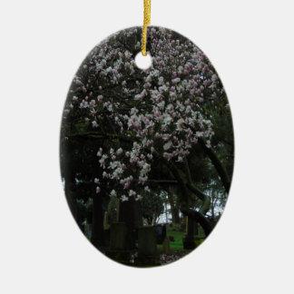 Magnolias Forever Ceramic Oval Ornament