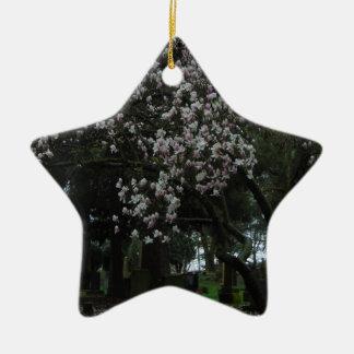 Magnolias Forever Ceramic Star Ornament