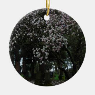 Magnolias Forever Round Ceramic Ornament