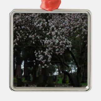 Magnolias Forever Silver-Colored Square Ornament